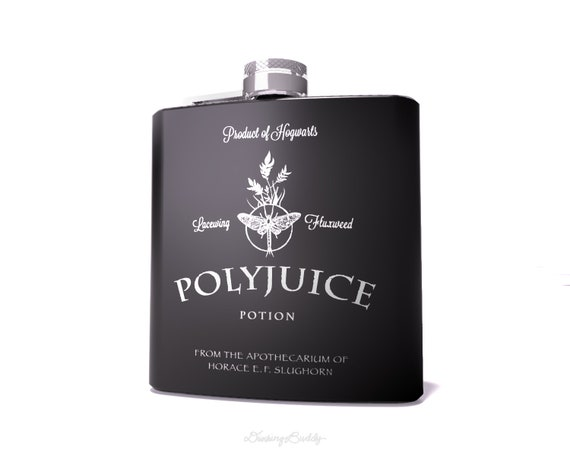 Polyjuice Potion, inspired by Harry Potter -  Black Matte 6oz Engraved Hip Flask