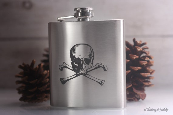 Skull and Crossbones -  Laser Engraved Stainless Steel Hip Flask
