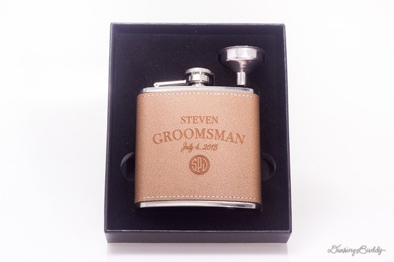 Gift Box Set - Brown Leather Monogram Hip Flask -  1 Personalized 6oz Engraved Flask -  Groomsman - Groom - Best Man - Wedding Gift
