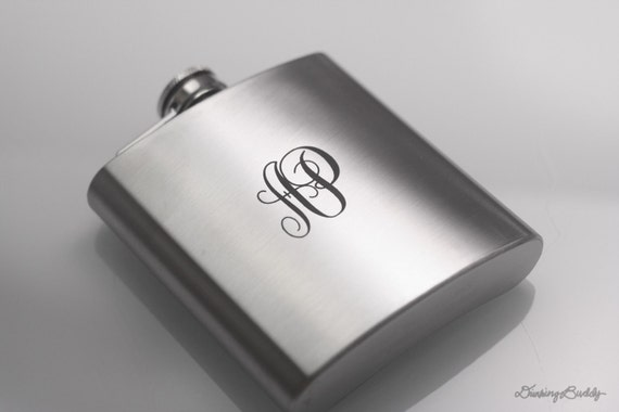 Initials Engraved Monogram  - Laser Engraved Liquor 6oz Hip Flask