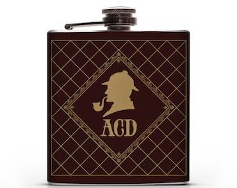 Sherlock Holmes Personalized Monogram - 6oz Hip Flask