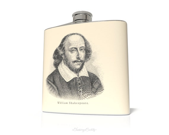 Shakespeare Wooden Etch - 6oz Hip Flask - Vinyl