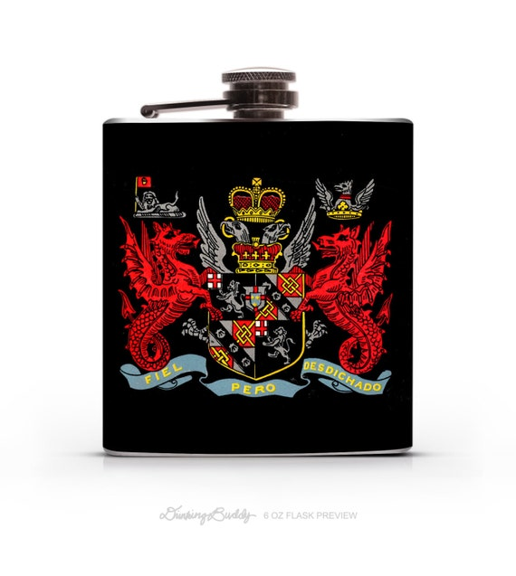 Arms of Winston Churchill - 6oz or 8oz Whiskey Hip Flask