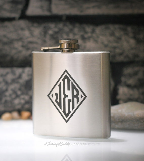 Hip Flask - Diamond Monogramed Engraving - Party Favor, Wedding Gifts for Formal Special Occasions