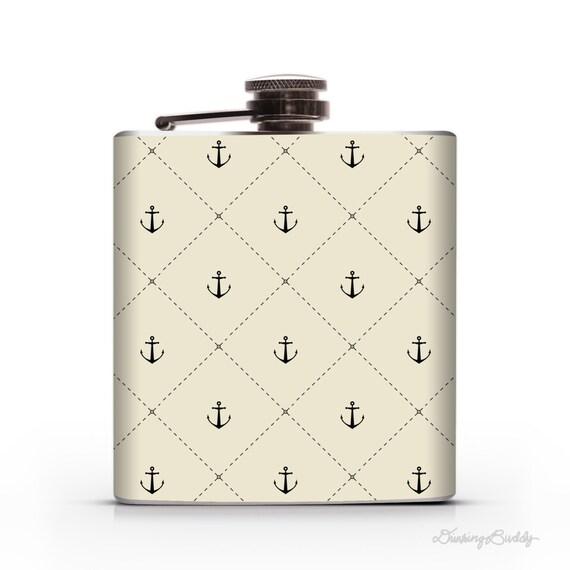 Anchor Stitch-  6oz or 8oz Liquor Hip Flask