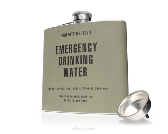 Vintage Military - Emergency Drinking Water - Original Whiskey 6oz Hip Flask