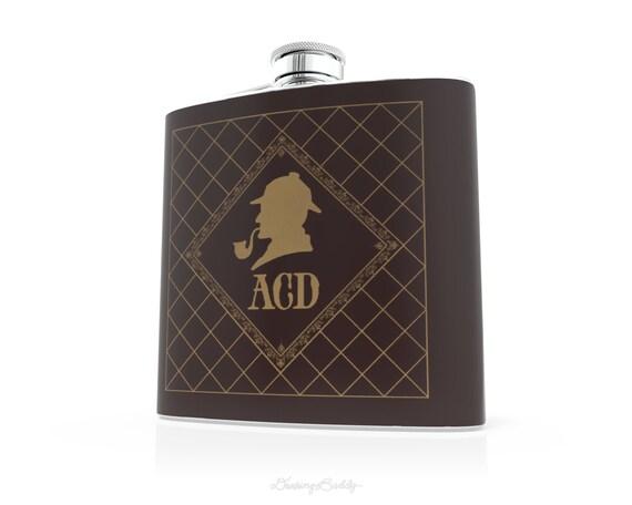 Sherlock Holmes Personalized Monogram - 6oz Hip Flask - Vinyl