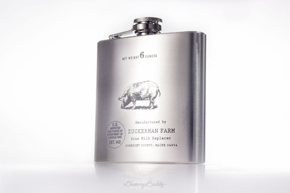 Zuckerman's Famous Pig- Sows Milk Replacer inspired by Charlotte's Web -  6oz Engraved Hip Flask
