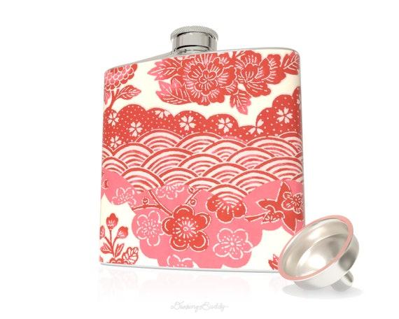 Pink and Red Japanese Yuzen Floral  - 6oz Hip Flask - Vinyl