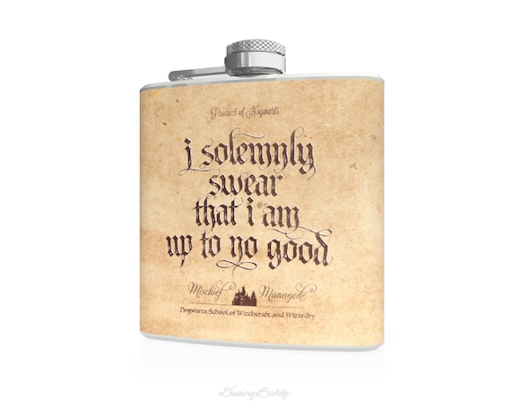 Marauder's Map - I solemnly swear that I am up to no good- Mischief Managed, inspired by Harry Potter - 6oz Stainless Steel Flask - Vinyl