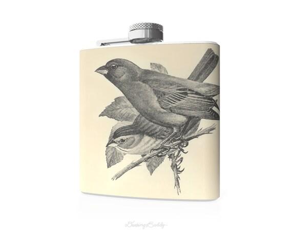 Vintage Indigo Bunting Birds- 6oz Hip Flask - Bird Theme - Vinyl