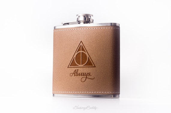 Deathly Hallows Flask - Always, inspired by Harry Potter - 6oz Engraved Hollow Leather Hip Flask