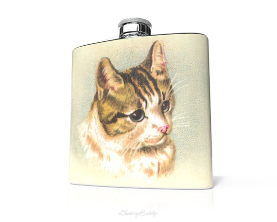 Vintage Kitten -  6oz Hip Flask - Vinyl