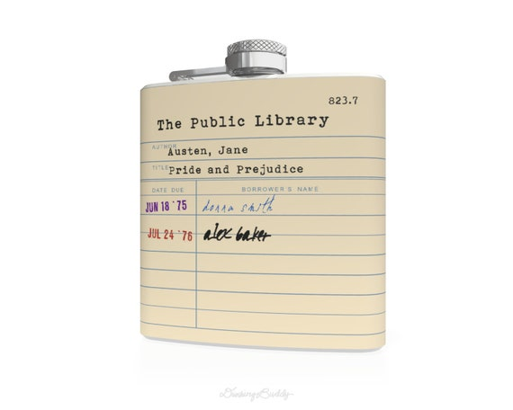 Jane Austen Public Library Card  - 6oz Hip Flask - Vinyl