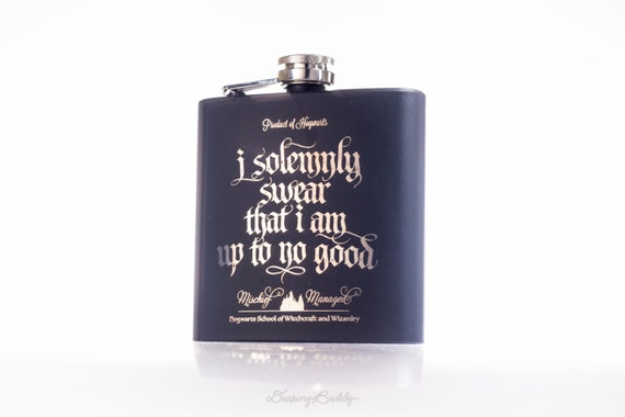 Marauder's Map - Black Matte 6oz Engraved Hip Flask - I solemnly swear that I am up to no good- Mischief Managed, Harry Potter inspired