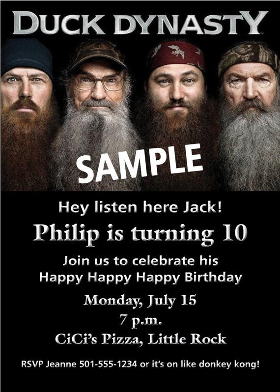 Duck Dynasty Personalized Birthday Party Invitation Etsy