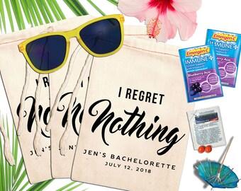 Bachelorette Bags Personalized, I Regret Nothing Hangover Kit Bags, Bachelorette Party Favors Custom, Mexico Las Vegas Nash Bash Girls Trip