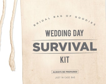 Wedding Day Survival Kit Bags, Custom Wedding Day Emergency Kit, Wedding Day Gifts, Bridal Party Gifts, Wedding Party Gifts