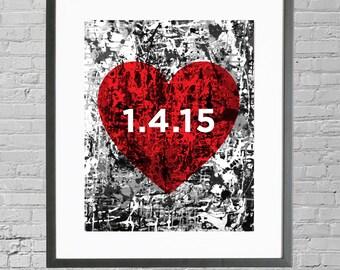 Personalized Wedding Date Art, Custom Wedding Print, Wedding Art, Custom Wedding Gift, Anniversary Decor, Anniversary Wall Art, Art Print