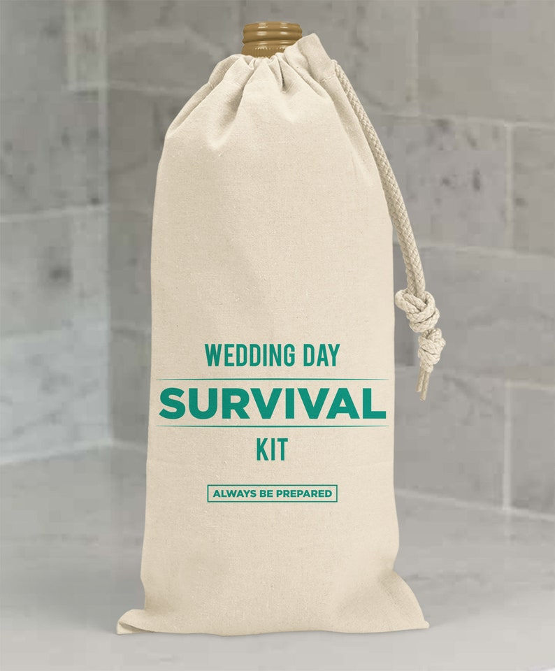 Wedding Survival Kit Canvas Wine Bags   Hotel Room Wedding Welcome Bags