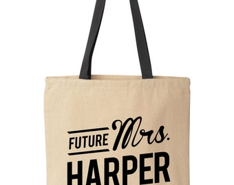Custom Tote Bag for Bride | Bride to Be Personalized Tote Bag | Future Mrs Tote Bag | Personalized Canvas Tote | Wedding Gift/Bridal Shower