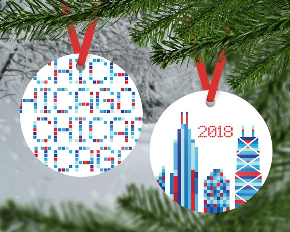 Christmas In Chicago 2018.Chicago Christmas Ornament Chicago Ornament 2018 Chicago Christmas Ornament Chicago Gift Chicago Skyline Chicago Christmas Gift