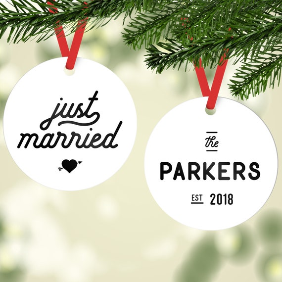 image 0 - Just Married Ornament Personalized Ornaments Newlywed Etsy