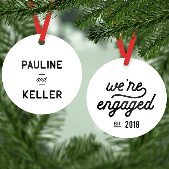 Engagement Ornament Personalized Ornaments We Re Engaged Christmas