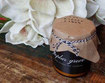 Sun Kissed Linen Hand poured soy candle, 8oz or 16oz