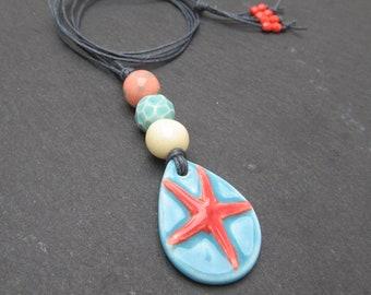 Starfish pendant, artisan pendant, beach jewellery, summer necklace