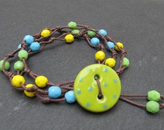 Wrap bracelet, dotty button bracelet, knotted bracelet, vegan jewellery