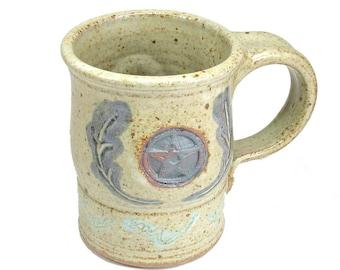 Stoneware Pottery Pentacle Leaves Coffee Mug Cup Wiccan Travel Mug