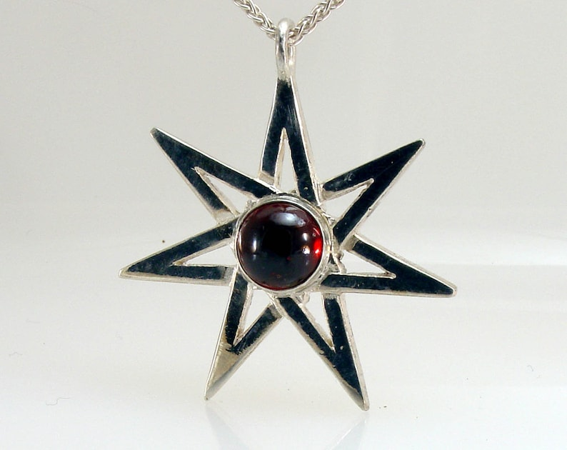 Septagram Garnet Necklace Fairy Star Sterling Silver Faery Pendant Leather Cord
