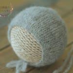 Grey Brushed Alpaca Knit Bonnet - Newborn Light Grey Knit Bonnet - Neutral Knit Bonnet - Grey Knit Neutral Newborn Bonnet - Made to Order