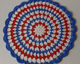 Hand Crocheted 13 1/2 inch Round Place mats set of 4