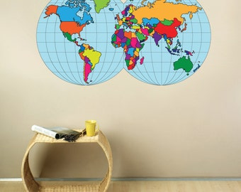 Large world map decal etsy world map fabric wall decal large gumiabroncs Images