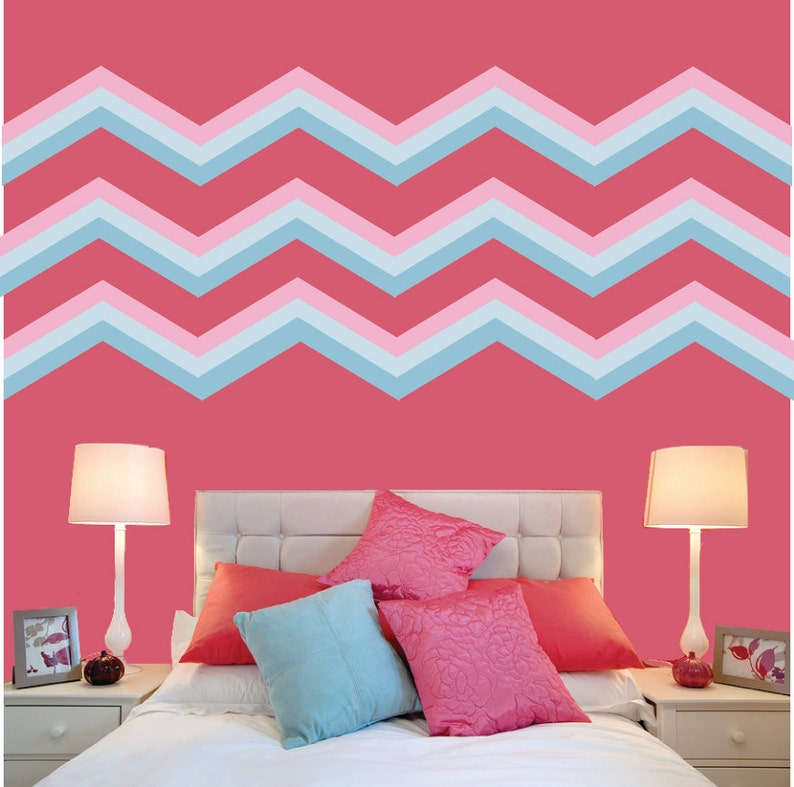 Chevron Fabric Wall Decal FABRIC WALL DECAL Reusable Peel and Stick