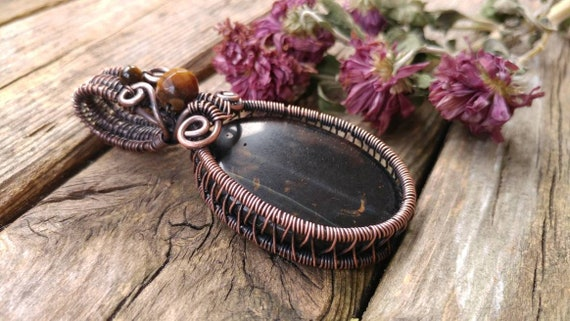 Metaphysical Jewelry Tiger\u2019s Eye and Black Onyx Protection Amulet Gift. Copper Wire Wrapped Pendant Talisman