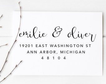 """Return Address Rubber Stamp, Personalized Address Stamp. Housewarming Gift, Wedding Gift. Self-Inking, or Wooden Block. 2.5"""" x 1.25"""" - A66"""