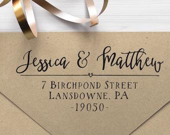 "Return Address Stamp, Self Inking Address Stamp, Housewarming Gift, DIYer Gift, Wedding Gift. Custom Address Stamp 2.5"" x 1"" - A19"