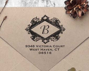 "Return Address Stamp, Vintage Address Stamp, Housewarming Gift, DIYer Gift, Wedding Gift. Custom Address Stamp 2"" x 2"""