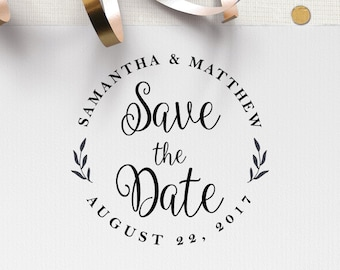 Save the Date Stamp, Wedding Stamp, Custom Rubber Stamp, DIY Wedding Stamp. Custom Stamp - W11