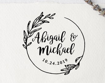 Wedding Rubber Stamp For Favors Napkins Cards Custom DIY Botanical Logo 2 To 4 Inch