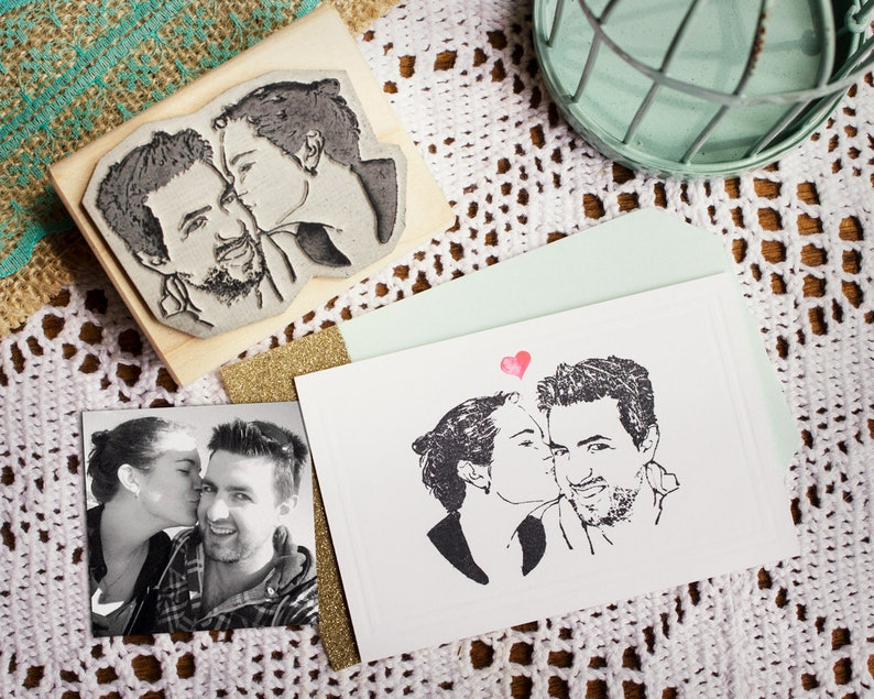 Custom Portrait Stamp Couples Rubber Stamp Custom Face image 0