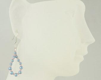 Iridescent Blue  Beaded Teardrop Earrings/Dangle Earrings/Drop Earrings