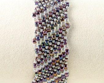 Mauve Peyote Stitch Cuff Bracelet/Seed Bead Bracelet/Beaded Bracelet/Beaded Cuff