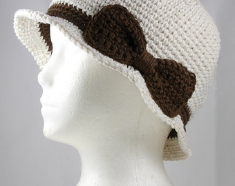 Cloche Hat in Natural with Brown Band and Bow for Cancer Patients - Chemo Hat/Cancer Hat/Chemo Cap/Cancer Cap