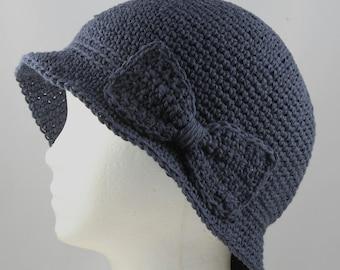 Cloche Hat in Dark Denim Blue for Cancer Patients - Cancer Hat/Chemo Hat/Cancer Cap/Chemo Cap