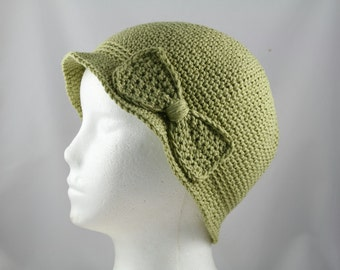 Cloche Hat in Sage Green for Cancer Patients - Chemo Hat/Cancer Hat/Chemo Cap/Cancer Cap