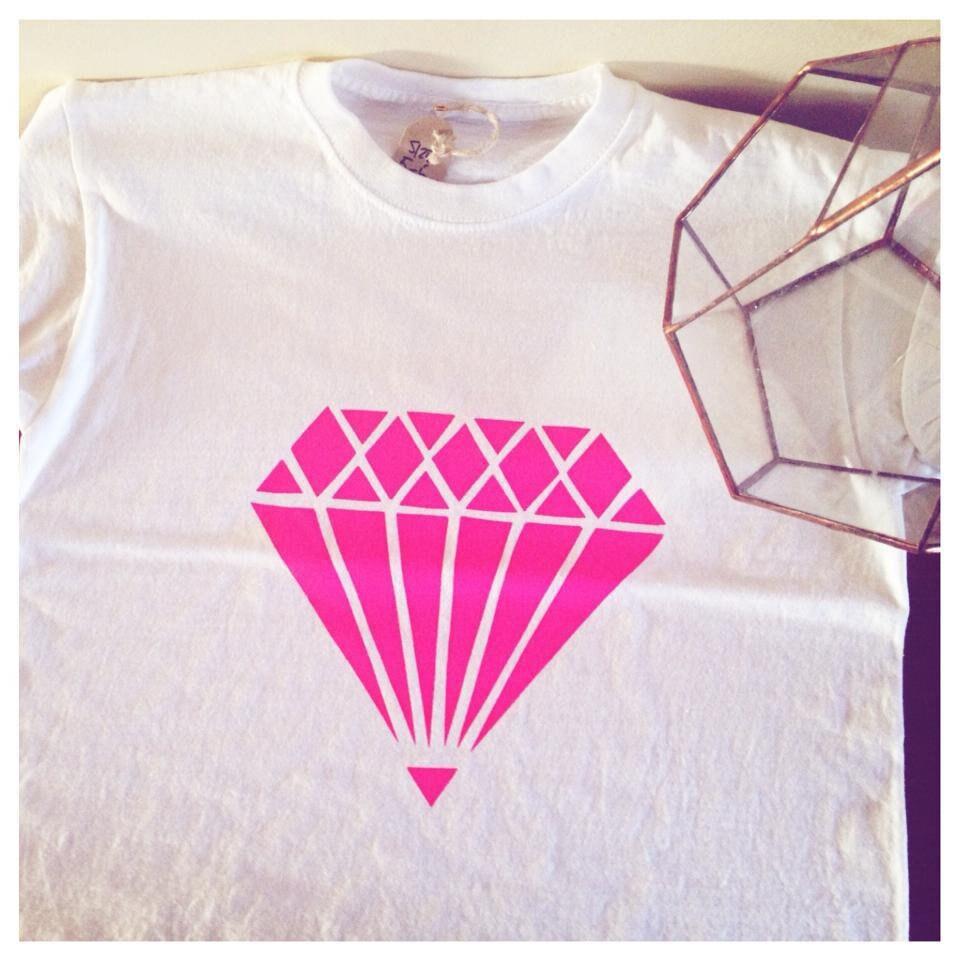 ROSE - diamant fil Fluo Kids T-shirts - ROSE sérigraphié à la main 1910f5